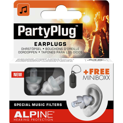 Alpine Hearing Protection PartyPlug Earplugs (Transparent, 6-Pack)