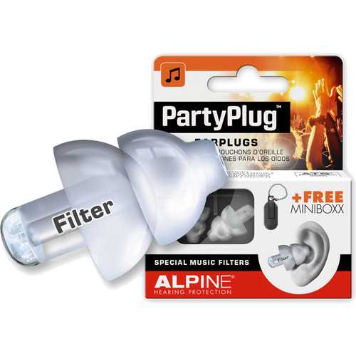 Alpine Hearing Protection PartyPlug Single-Attenuator Molded Earplugs (Clear)