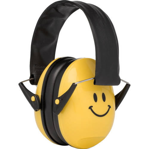 Alpine Hearing Protection Muffy Smile Earmuffs for Kids (Yellow, Smiley Face)