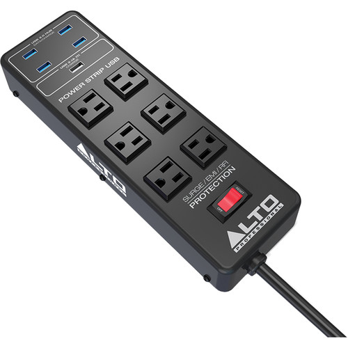 Alto 6-Outlet Surge Protector with USB Hub and Charging Ports