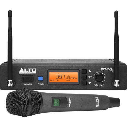 Alto Radius 100 Professional UHF Diversity Wireless Microphone System with Handheld Condenser Microphone