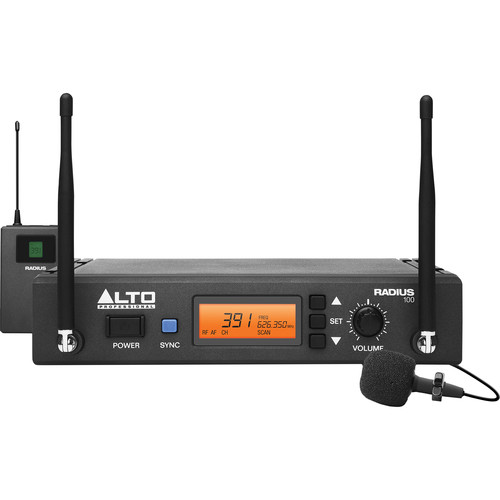 Alto Radius 100 Professional UHF Diversity Wireless Microphone System with Lavalier Microphone