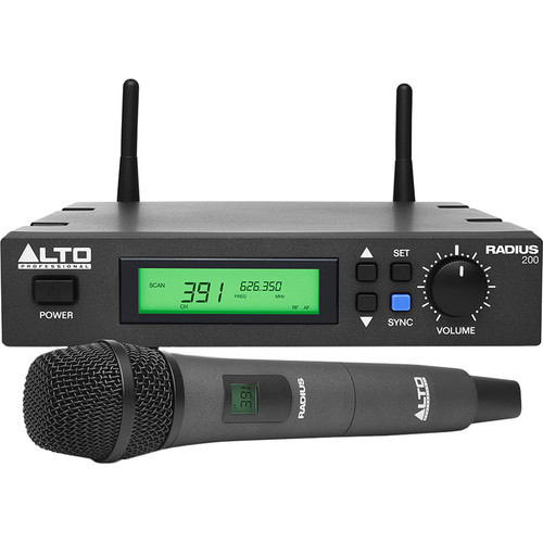 Alto Radius 200 Professional UHF Diversity Wireless Microphone System with Handheld Condenser Microphone