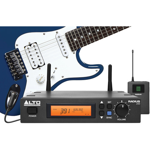 """Alto Radius 200 Professional UHF Diversity Wireless Microphone System with 1/4"""" Instrument Adapter Cable"""