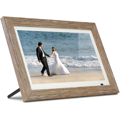 """Aluratek 13.3"""" Digital Photo Frame with Interchangeable Frames (Distressed Wood)"""