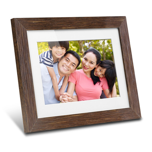 """Aluratek 8"""" Digital Photo Frame with Automatic Slideshow (Distressed Wood)"""