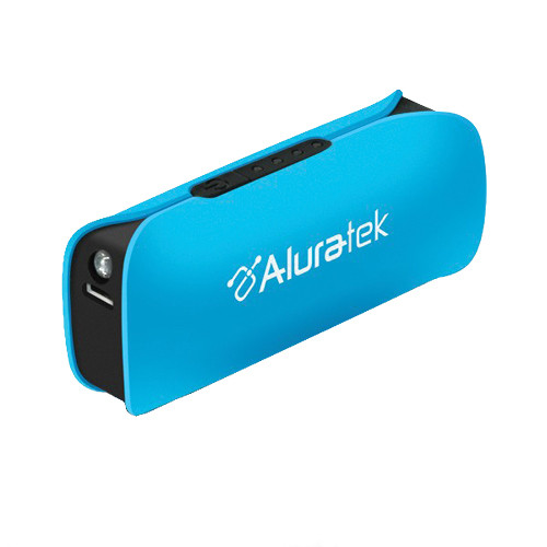 Aluratek 2600 mAh Portable Battery Charger with LED Flashlight (Blue)