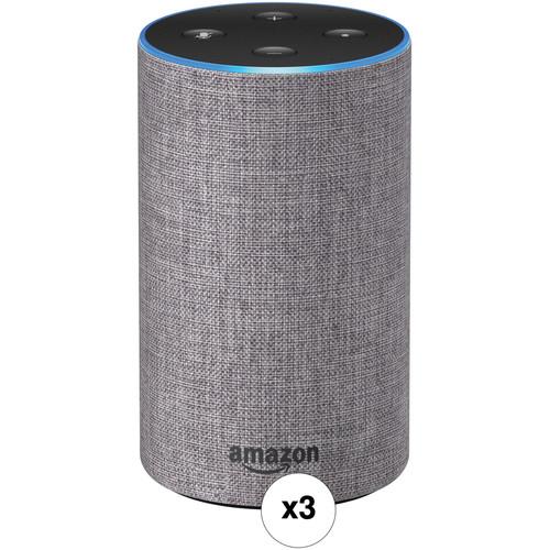 Amazon Echo 3-Pack Kit (2nd Generation, Heather Gray Fabric)