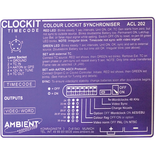 Ambient Recording Label for ACL-202 C Lockit Timecode Generator (Purple)