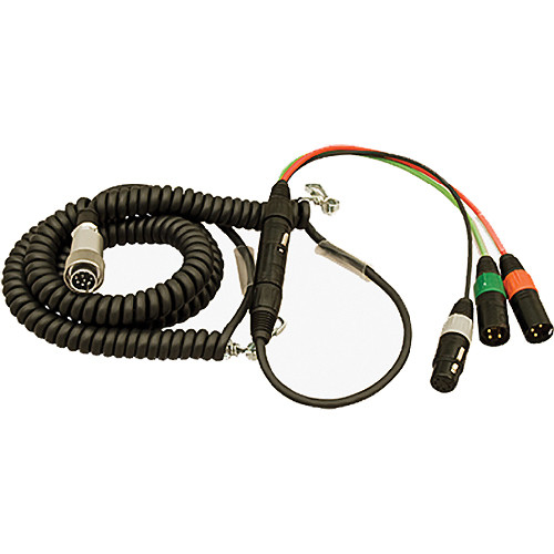 Ambient Recording HBS10Y7-5 Hirose 10-Pin Male to 7-Pin XLR Male Coiled Breakaway Cable with Y Cable (4.6 to 16.4')