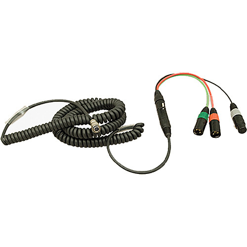Ambient Recording HBS12HY7-5 Hirose 12-Pin Male to 7-Pin XLR Male Coiled Breakaway Cable with Y Cable (4.6 to 16.4')