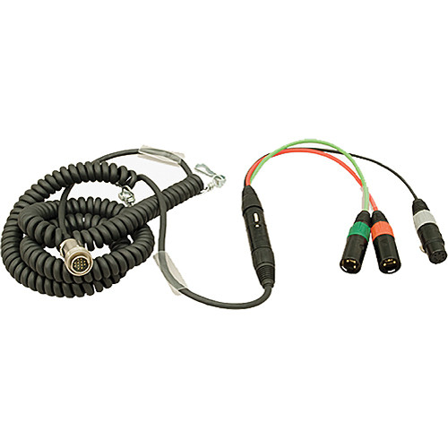 Ambient Recording 12-Pin Tajimi Male to 7-Pin XLR Male Coiled Breakaway Cable with HBY7-5 Y-Cable (4.5 to 16.4')