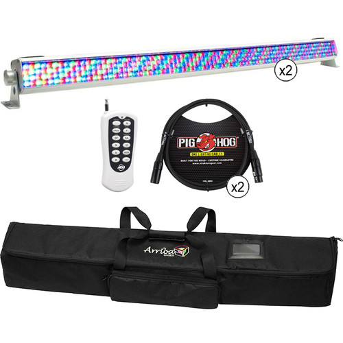 American DJ 2 x White Mega Bar RGBA with Remote, Cable and Bag Kit