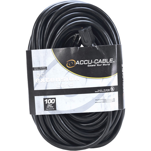 American DJ Accu-Cable 3-Wire 12-Gauge Edison AC Extension Cord (100')