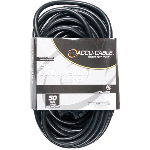 American DJ Accu-Cable 3-Wire 12-Gauge Edison AC Extension Cord with Three Plugs (50', Black)