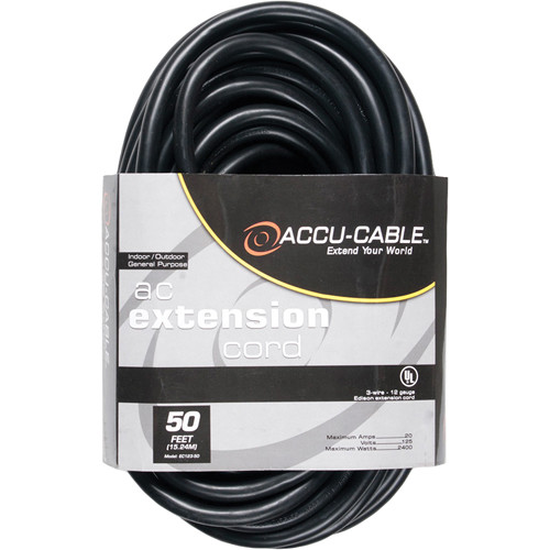 American DJ Accu-Cable 3-Wire Edison AC Extension Cord (12 AWG, Black, 50')