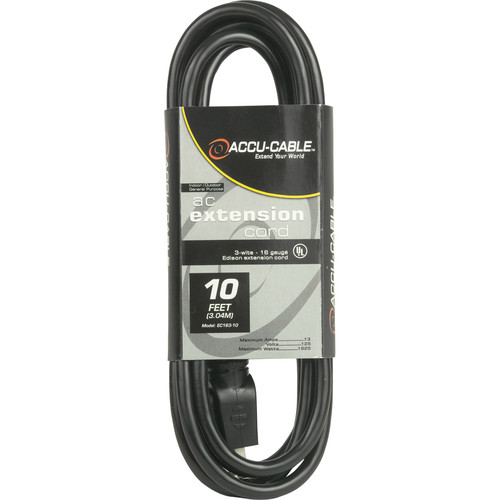 American DJ Accu-Cable 3-Wire Edison AC Extension Cord (16 AWG, Black, 10')