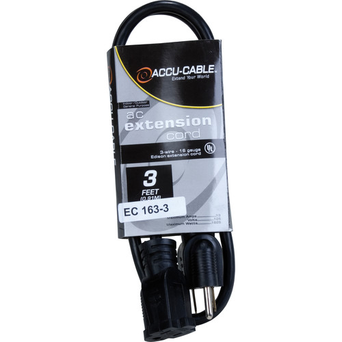 American DJ Accu-Cable 3-Wire Edison AC Extension Cord (16 AWG, Black, 3')