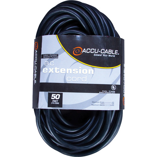 American DJ Accu-Cable 3-Wire 16-Gauge Edison AC Extension Cord (50')