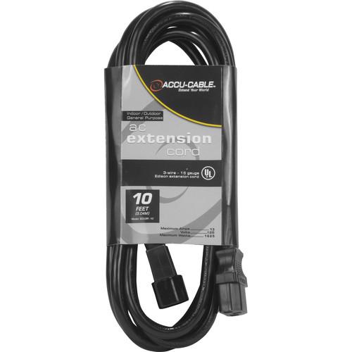 American DJ Accu-Cable Indoor-Outdoor General Purpose IEC Extension Cord (10')