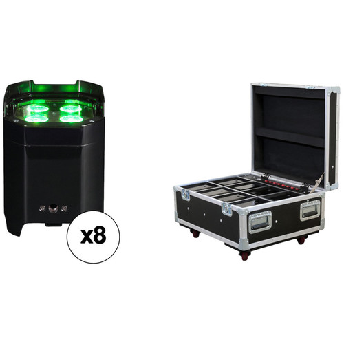 American DJ Element Hex IP Kit with 8 Battery-Powered Fixtures and Charging Case