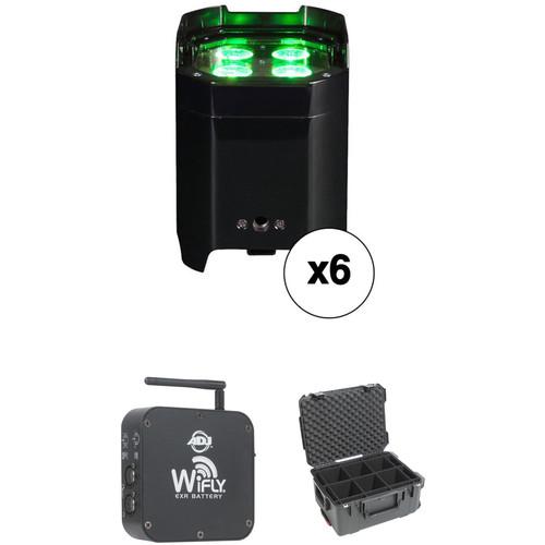 American DJ Element HEX IP RGBAW+UV LED Par with Wireless DMX Kit (6-Pack, Black)