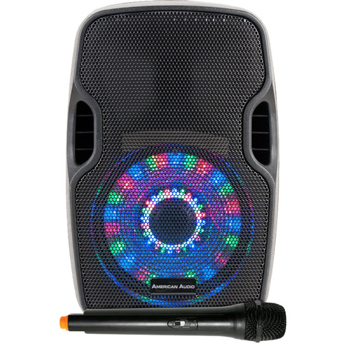 "American Audio ELS 8GO LTW 8"" 2-Way Battery Powered Speaker with LED Light Array + Wireless Microphone"