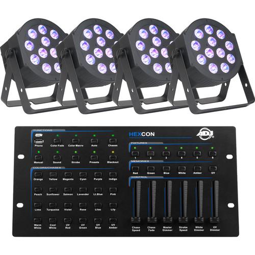 American DJ Hex Par Hexcon Pak (4 x 12P Hex LED PARs & Hexcon DMX Controller)