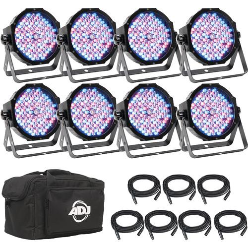 American DJ Mega Flat Pak 8 Plus - 8x Mega Par Profile Plus LED Pars, 7x DMX Cable, & Bag