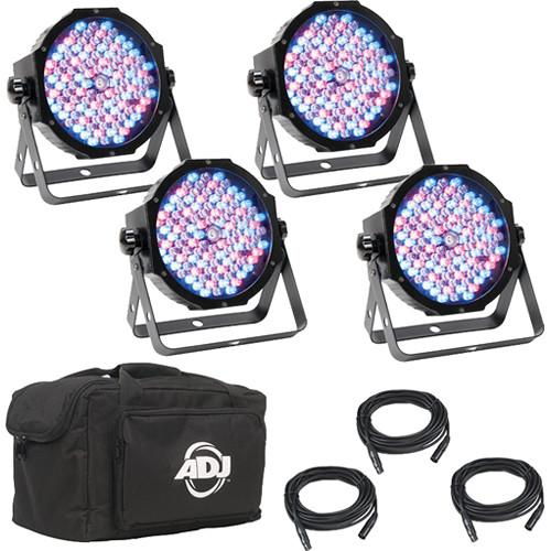 American DJ Mega Flat Pak Plus 4x Mega Par Profile Plus LED Pars, 3x DMX Cable, and Bag