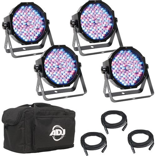 American DJ Mega Flat Pak Plus - 4x Mega Par Profile Plus LED Pars, 3x DMX Cable, & Bag