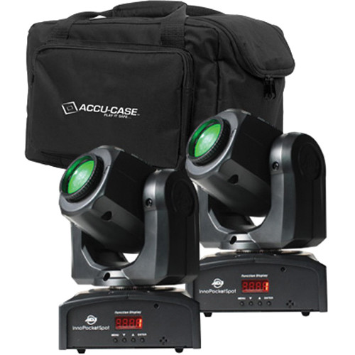 American DJ Pocket Spot Pak - 2x Compact LED Moving Head Lights with F4 Par Bag