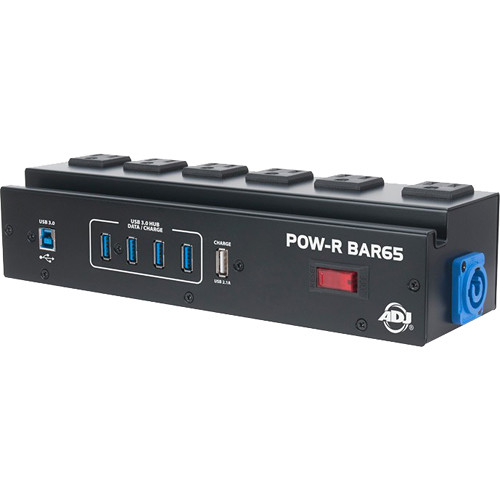 American DJ Utility Power Block with 6 Surge-Protected AC Power Sockets & 4-Port USB 3.0 Hub
