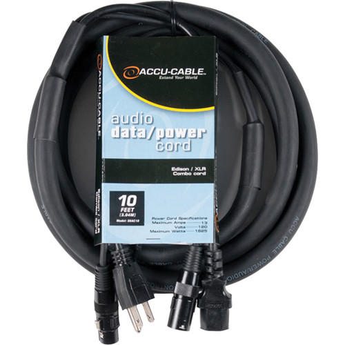 American DJ Edison Male to Female and XLR Male to Male Combo Cable (10')