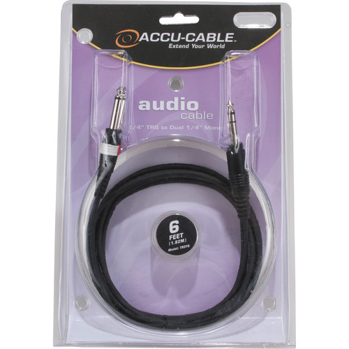 "American DJ 1/4"" Stereo TRS to Dual 1/4"" Male Mono Cable (6')"