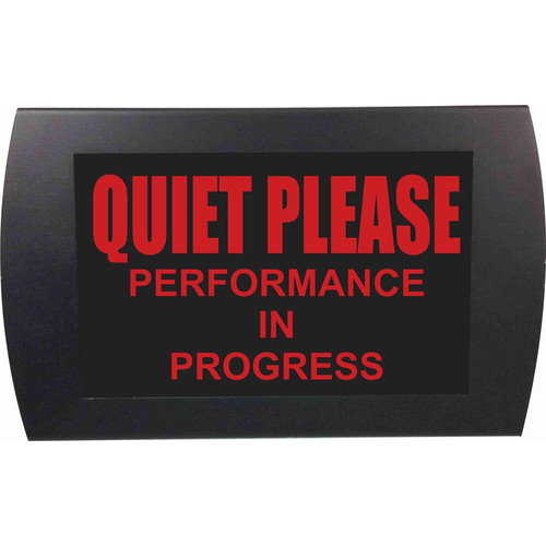 American Recorder QUIET PLEASE PERFORMANCE IN PROGRESS Indicator Sign with LEDs (Red)
