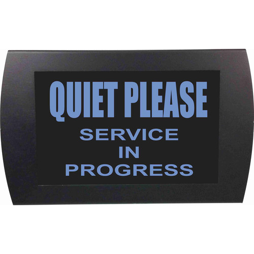 American Recorder QUIET PLEASE SERVICE IN PROGRESS Indicator Sign with LEDs (Blue)