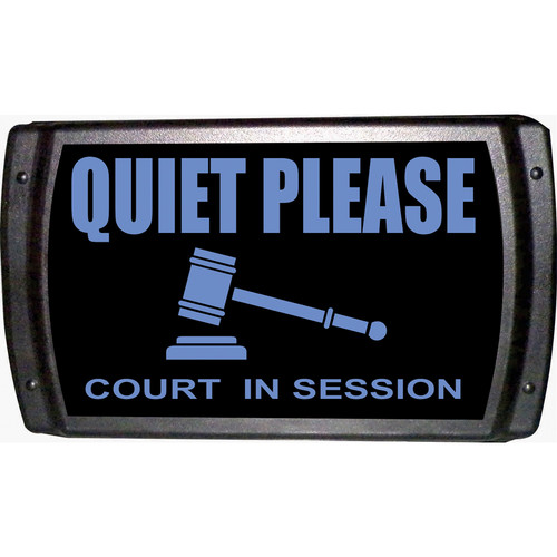 American Recorder QUIET PLEASE - COURT IN SESSION Sign with LEDs (Blue)