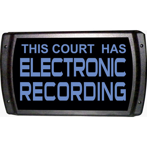 American Recorder THIS COURT HAS ELECTRONIC RECORDING Sign with LEDs (Blue)