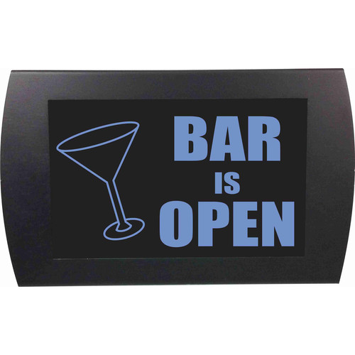 American Recorder BAR IS OPEN Indicator Sign with LEDs (Martini Glass, Blue)