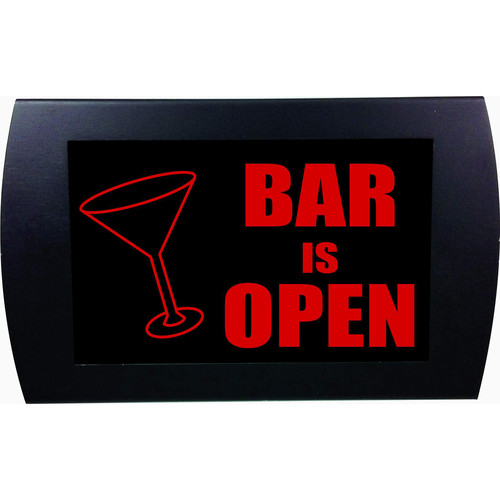 American Recorder BAR IS OPEN Indicator Sign with LEDs (Martini Glass, Red)