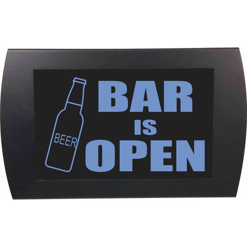 American Recorder BAR IS OPEN Indicator Sign with LEDs (Beer Bottle, Blue)