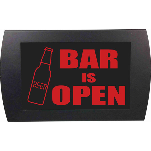 American Recorder BAR IS OPEN Indicator Sign with LEDs (Beer Bottle, Red)