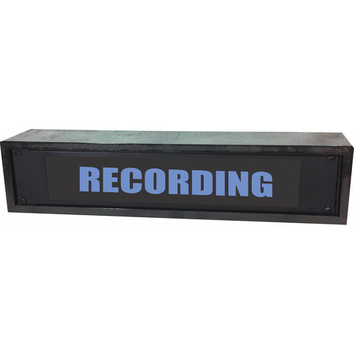 American Recorder RECORDING Rackmount Indicator Sign with LEDs and Black Enclosure (2 RU, Blue)