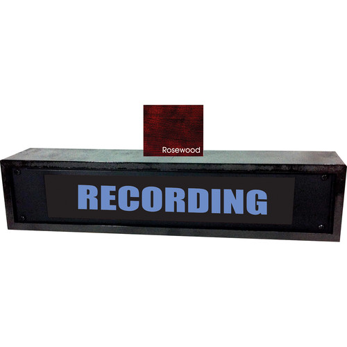 American Recorder RECORDING Sign with LEDs & Rosewood Enclosure (2 RU, English, Blue)