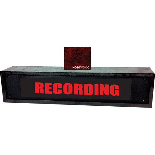 American Recorder RECORDING Sign with LEDs & Rosewood Enclosure (2 RU, English, Red)