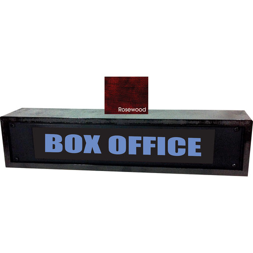 American Recorder BOX OFFICE Sign with LEDs & Rosewood Enclosure (2 RU, Blue)