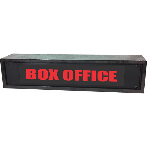 American Recorder BOX OFFICE Rackmount Indicator Sign with LEDs and Black Enclosure (2 RU, Red)