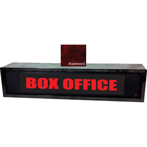 American Recorder BOX OFFICE Sign with LEDs & Rosewood Enclosure (2 RU, Red)