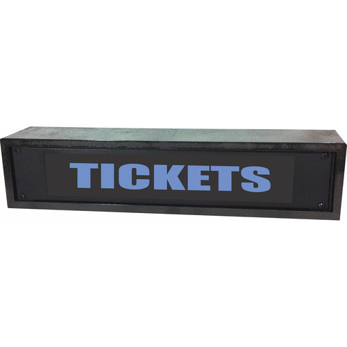 American Recorder TICKETS Rackmount Indicator Sign with LEDs and Black Enclosure (2 RU, Blue)